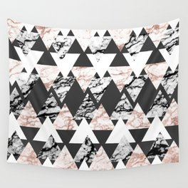 Modern Black White Rose Gold Marble Geo Triangles Wall Tapestry