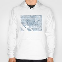 washington dc Hoodies featuring Washington DC Blueprint watercolor map by Anne E. McGraw