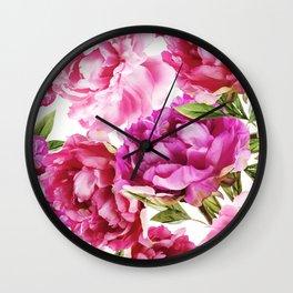 vintage peony print Wall Clock
