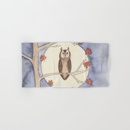 Long-Eared Owl Watercolor Hand & Bath Towel