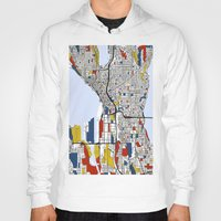 seattle Hoodies featuring Seattle by Mondrian Maps