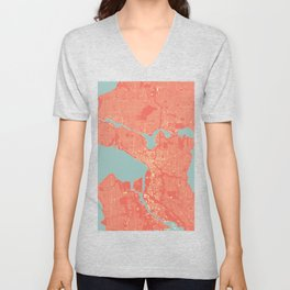 Seattle, Washington City Map, Colorful Unisex V-Neck