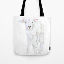 Lamb 2 Watercolor Tote Bag