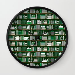 Book Case Pattern - Green and Grey Wall Clock