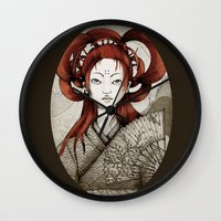 postcard Wall Clocks featuring Japanese Postcard by Little faba