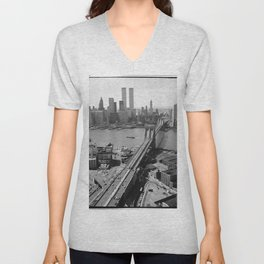 Looking NW Towards Manhattan / Twin Towers Unisex V-Neck