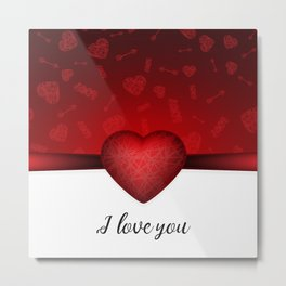 Valentines day background with red heart and Cupids arrow and I love you text Metal Print