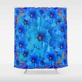 CERALIAN BLUE HOLLYHOCKS ART DECO ABSTRACT Shower Curtain