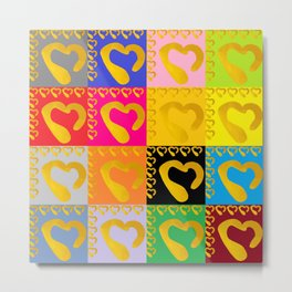 Gold Hearts on colorful Stamp Metal Print
