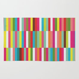 Bright Colorful Stripes Pattern - Pink, Green, Summer Spring Abstract Design by Rug