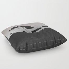 Saab 9-5 Aero, front view, gray on black Floor Pillow