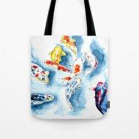 koi Tote Bags featuring Koi  by Bridget Davidson