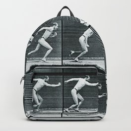 Time Lapse Motion Study Man Running Monochrome Backpack