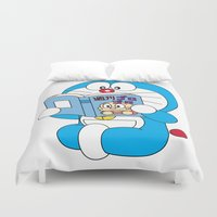 comic book Duvet Covers featuring Doraemon Reading Comic Book by Timeless-Id