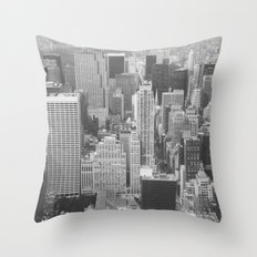 NYC on Black and White 35mm Film Throw Pillow