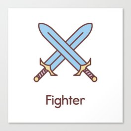 Cute Dungeons and Dragons Fighter class Canvas Print