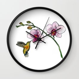 Little bird and an orchid Wall Clock