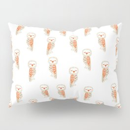 Cute hand painted white orange ivory watercolor owls Pillow Sham