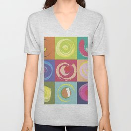 squares with circles Unisex V-Neck