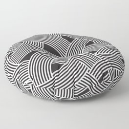 Modern Scandinavian B&W Black and White Curve Graphic Memphis Milan Inspired Floor Pillow