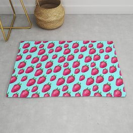 Fun Summery Strawberry Print With Light Blue Background! (Small Scale) Rug