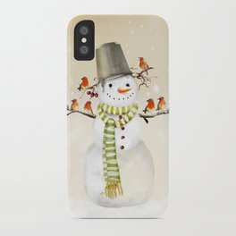Snowman and Birds iPhone Case