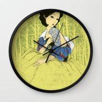 tattoos Wall Clocks featuring Her Hidden Tattoos by Anwar Rafiee