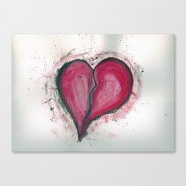Cracked & Splattered Heart Canvas Print