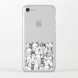 just alpacas black white Clear iPhone Case