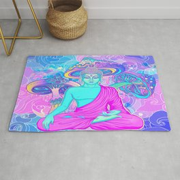 Sitting Buddha among psychedelic Mushrooms Rug