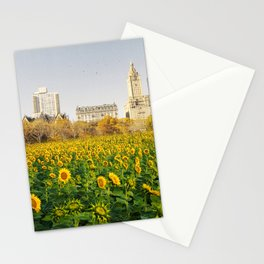 Central Park Sunflower Field Collage Stationery Cards