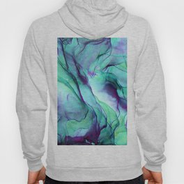 Violet Turquoise Flow - Alcohol Ink Painting Hoody
