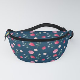 Charming Strawberry and Flower Pattern(blue) Fanny Pack
