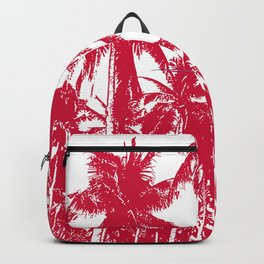 Palm Trees Design in Red and White Backpack
