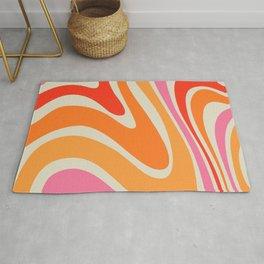 Orange & Red Liquid Modern Abstract Swirl Rug