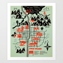 Twin Peaks Map Art Print