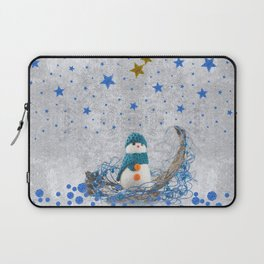 Snowman with sparkly blue stars Laptop Sleeve