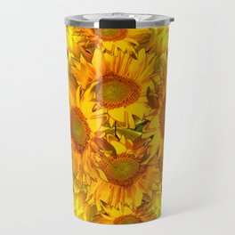 YELLOW SUNFLOWERS CHOCOLATE GARDEN ART Travel Mug