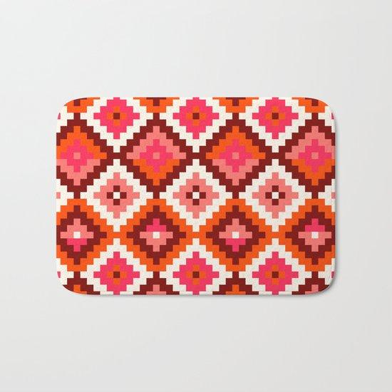 Aztec pattern-rose, orange, brown Bath Mat