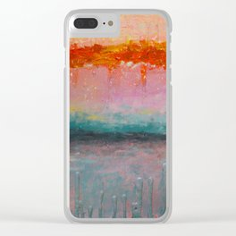 Fire Sunset vibrant mixed media abstract seascape Clear iPhone Case