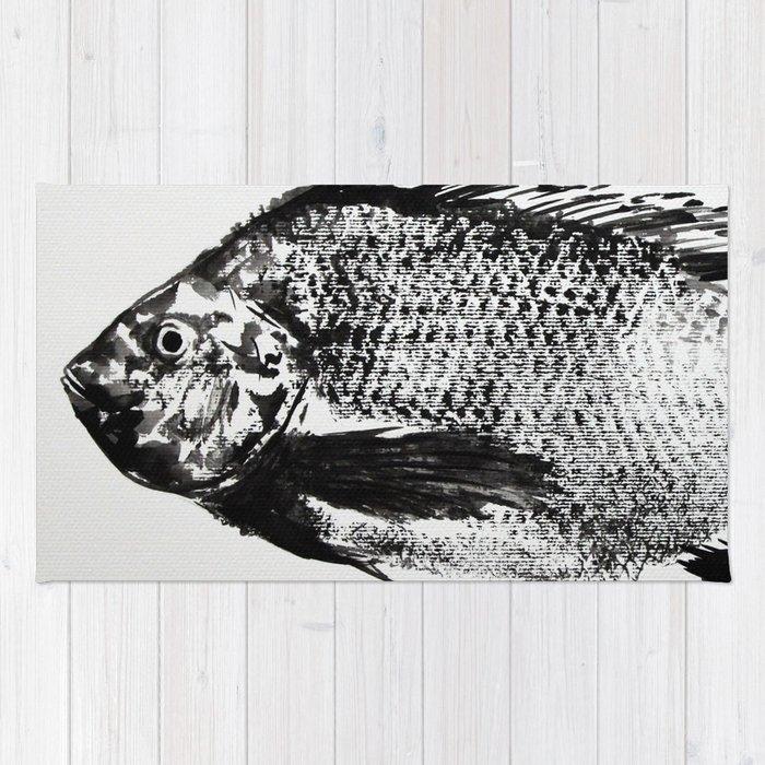 Gyotaku - Koi Fish Rug By Rchaem
