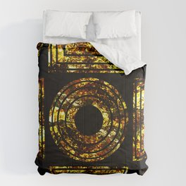 Golden Shapes - Abstract, black and gold, geometric, metallic textured artwork Comforters