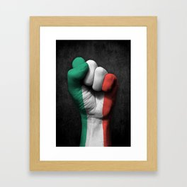 Italian Flag on a Raised Clenched Fist Framed Art Print