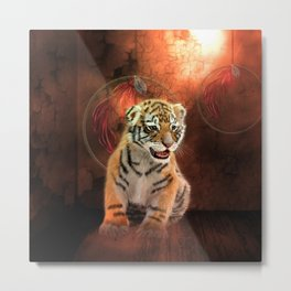 Cute little tiger baby Metal Print