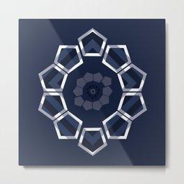 GeoFlower Blue Metal Print