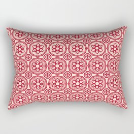 African Tribal Style Hexagon Motif Pattern Red and Beige Rectangular Pillow