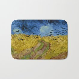 Wheatfield with Crows Painting by Vincent van Gogh Bath Mat