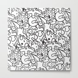 Black & White Blobs Metal Print