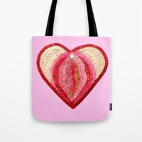 vagina Tote Bags featuring Sequin Vagina by King Sophie's World