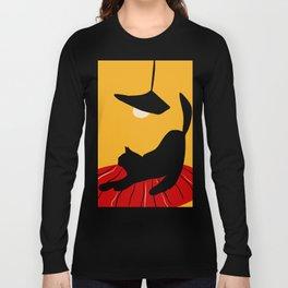 Black cat under a yellow light Long Sleeve T-shirt